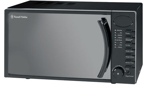 The Russell Hobbs RHM1714B is a small microwave oven with a digital display.